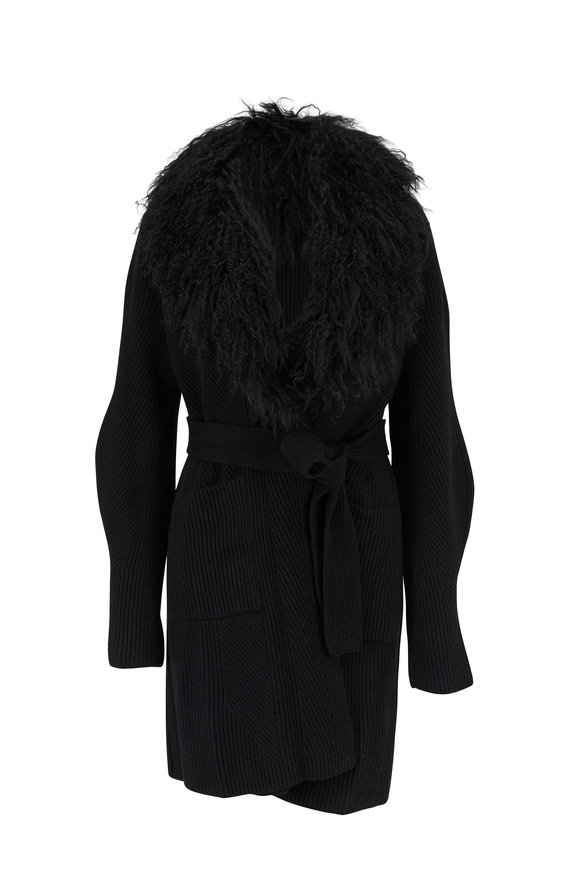 D.Exterior Black Tibetan Lamb & Wool Blend Coat