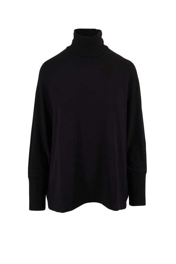 Majestic Black Relaxed Fit Turtleneck
