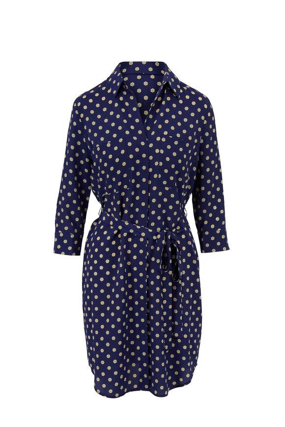 L'Agence Stella Navy Medallion Print Silk Tie-Waist Dress