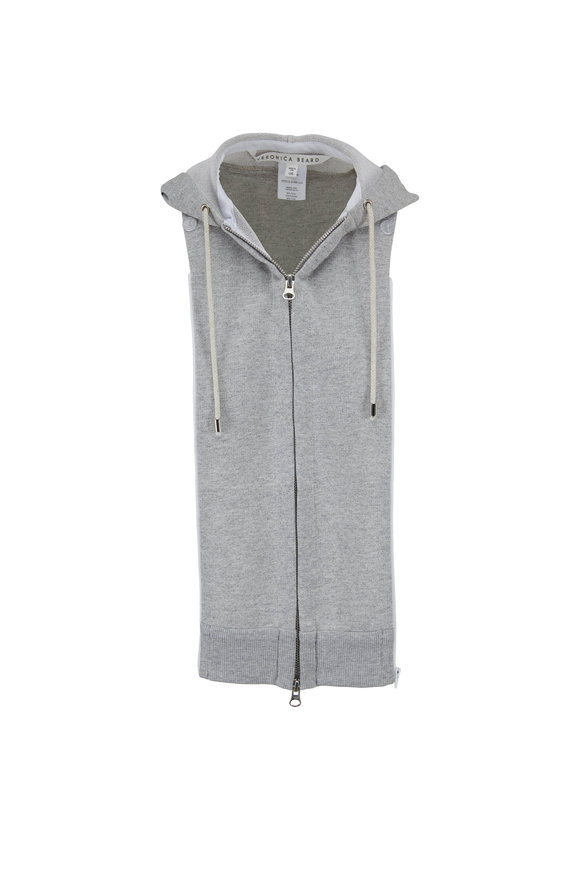 Veronica Beard Gray Cotton Fleece Hooded Dickey