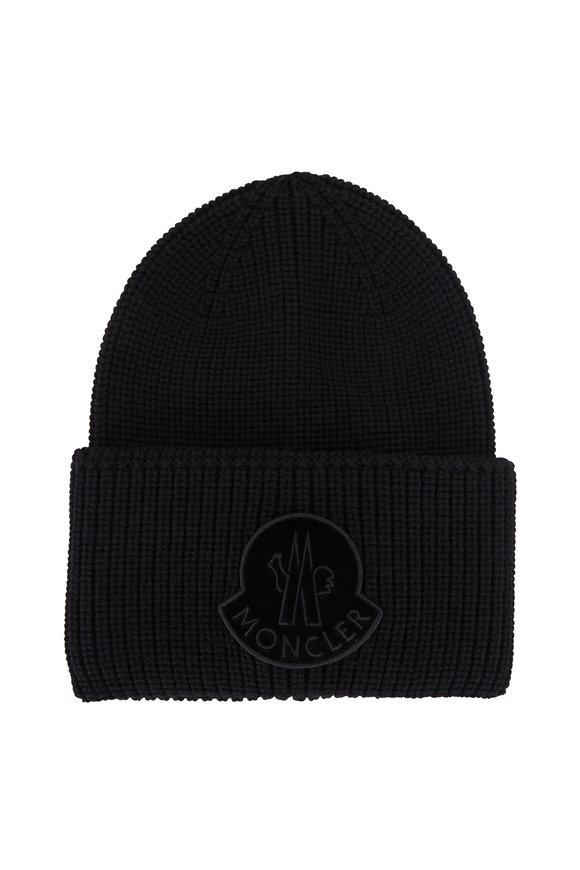 Moncler Black Velvet Logo Wool Knit Hat