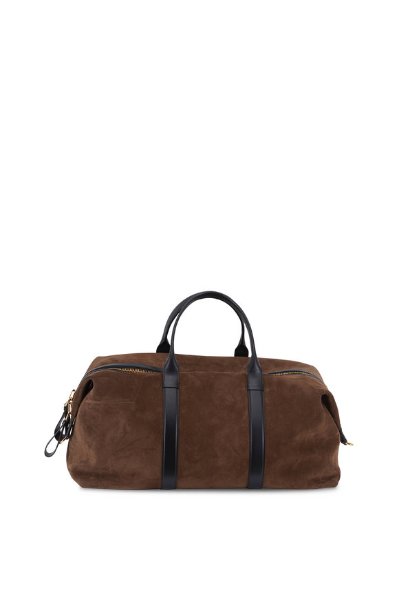 Tom Ford Buckely Brown Suede Large Duffel Bag