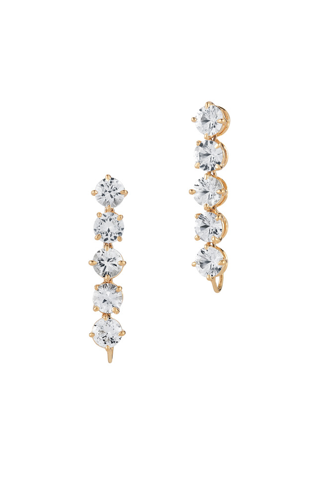 Yellow Gold White Sapphire Earrings