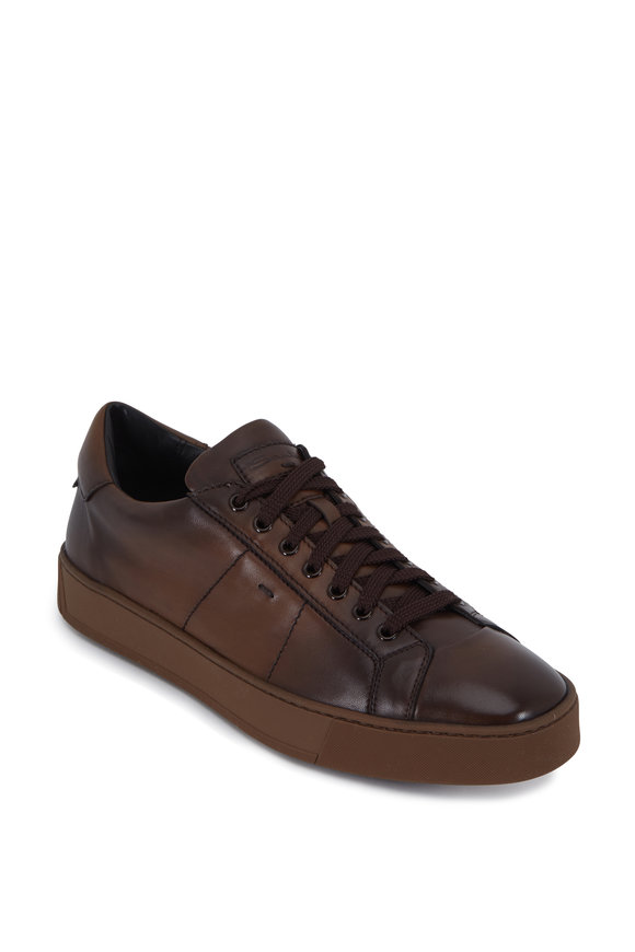 Santoni Gloria 2 Brown Quilted Antiqued Leather Sneaker