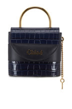 Chloé - Padlock Full Blue Croc Embossed Leather Small Bag