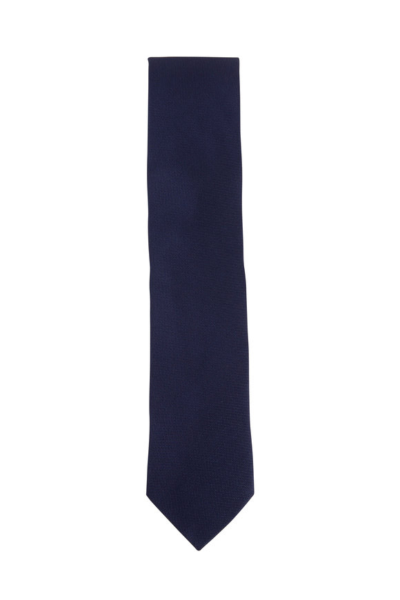 Eton Navy Silk Basketweave Tie