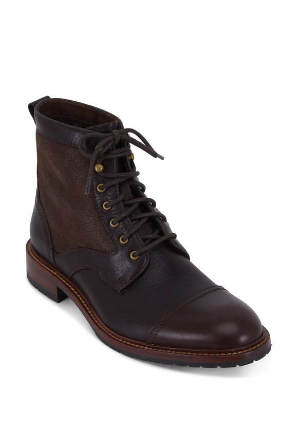 Trask Lawrence Espresso Steer Leather & Shearling Boot