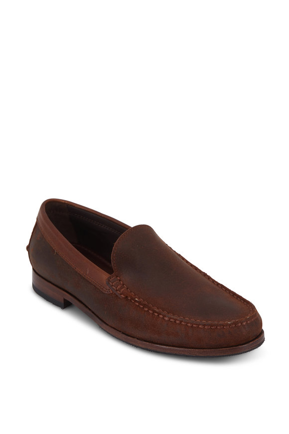 Trask Shane Brown Waxed Suede Loafer