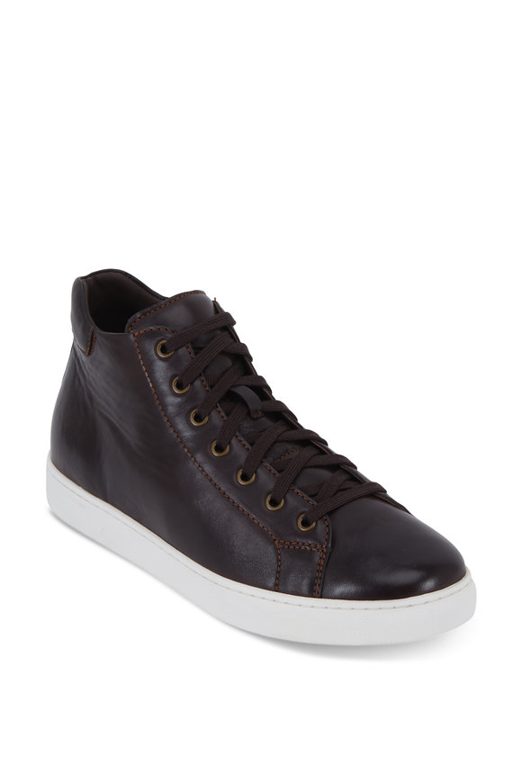 Trask Ashland Dark Brown Leather High-Top Sneaker