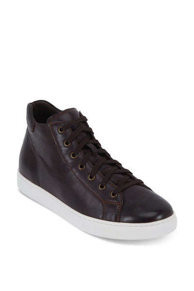 Trask - Ashland Dark Brown Leather High-Top Sneaker