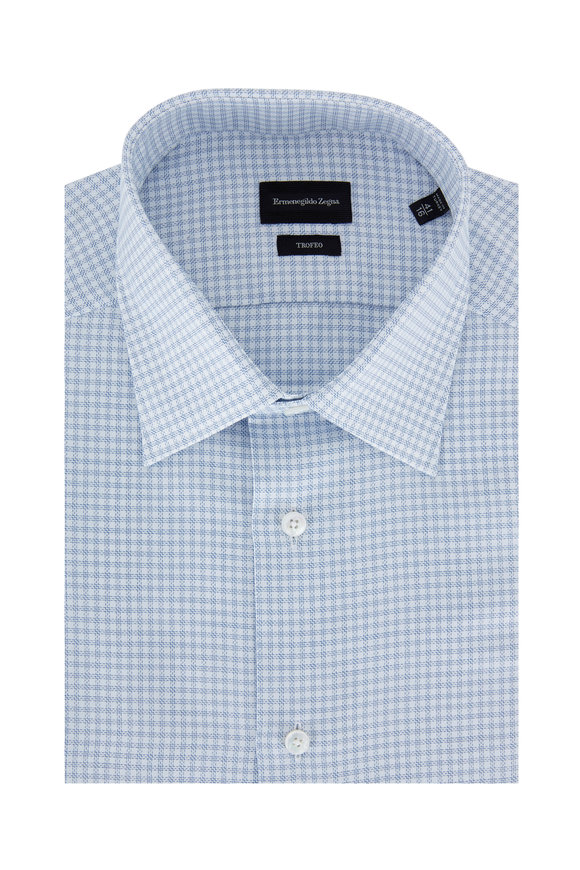 Ermenegildo Zegna White & Blue Small Check Sport Shirt