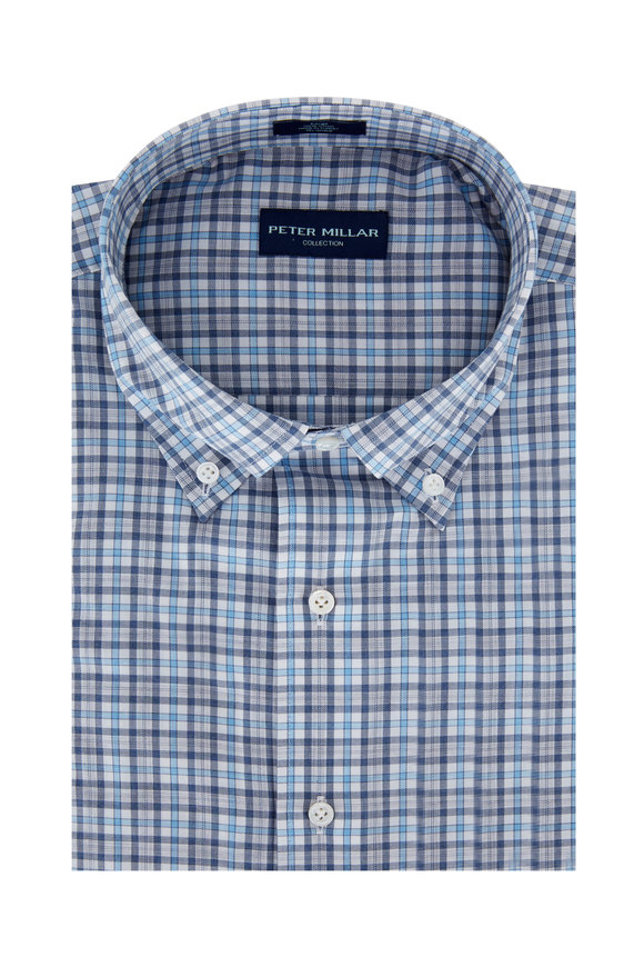 Peter Millar Blue & Gray Check Sport Shirt