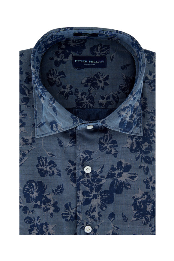 Peter Millar Blue Chambray Valles Floral Print Sport Shirt