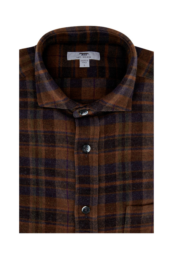Inis Meain Knitting Co. Brown Plaid Wool & Cotton Overshirt