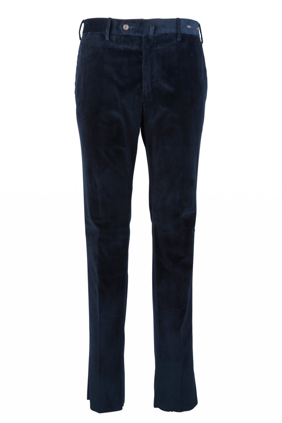 PT Pantaloni Torino Dark Blue Stretch Corduroy Slim Fit Pant