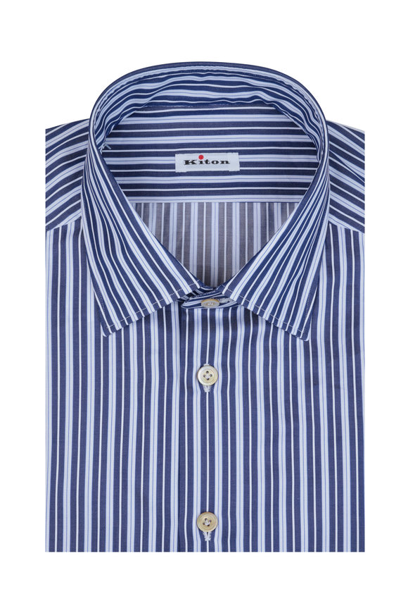Kiton Navy Striped Dress Shirt