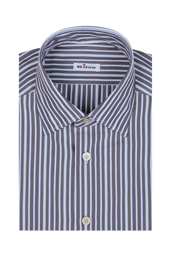 Kiton Brown & Blue Stripe Dress Shirt