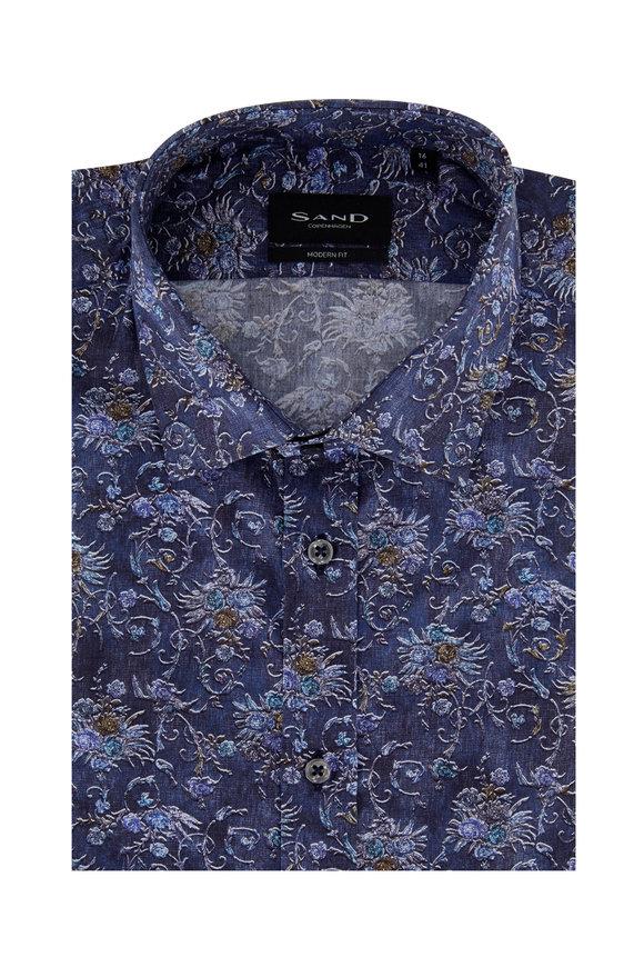 Sand Blue Floral Modern Fit Sport Shirt