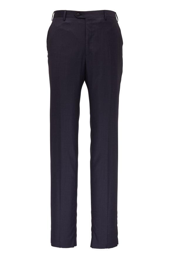 Brioni Navy Blue Wool Slim Fit Dress Pant