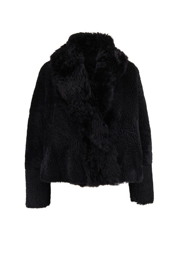 Yves Salomon  Black Shearling Cropped Coat