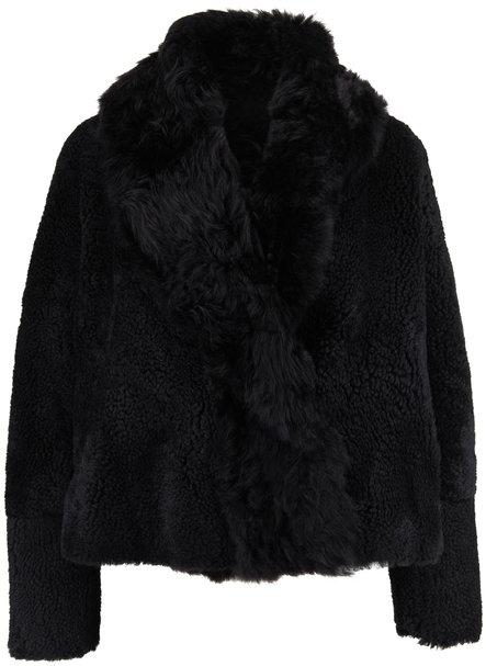 Yves Salomon  Black Shearling Cropped Coat