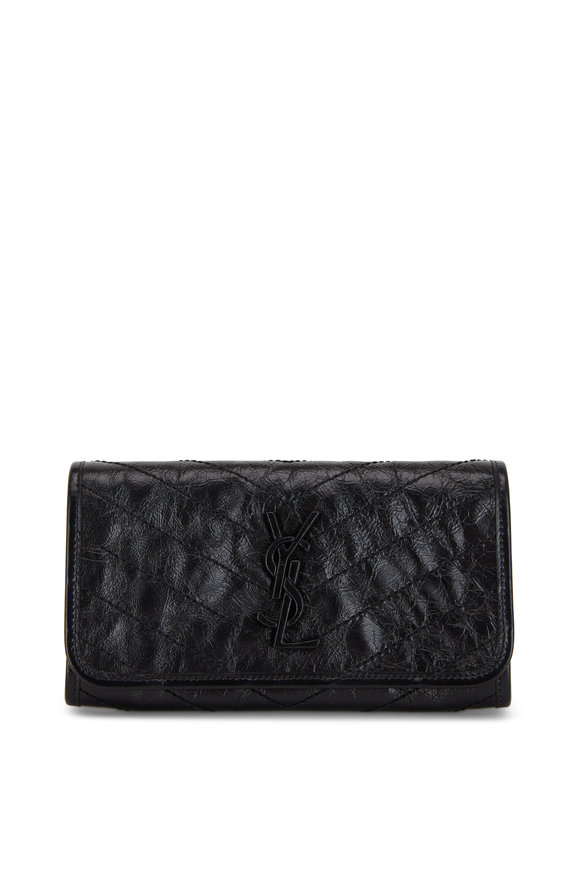 Saint Laurent Niki Black Monogram Flap Wallet
