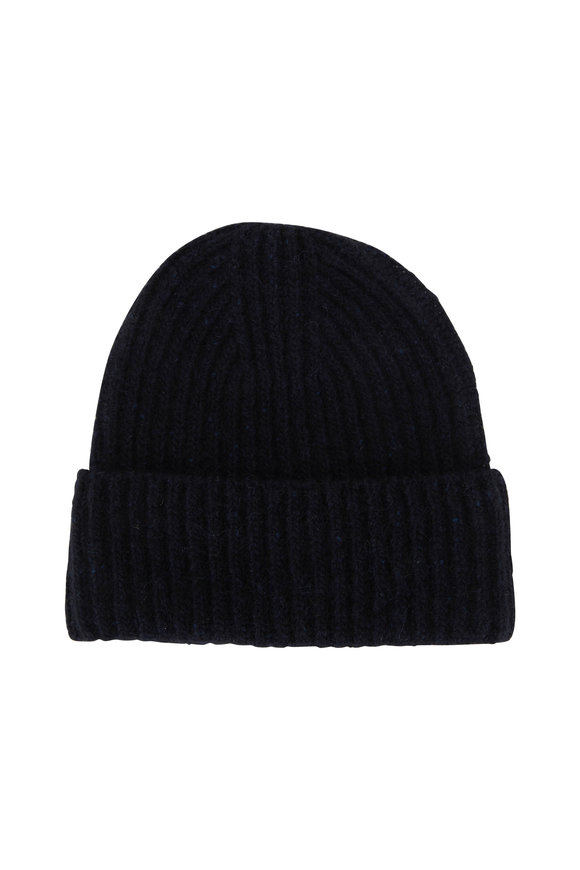 Vince Navy Cashmere Ribbed Beanie