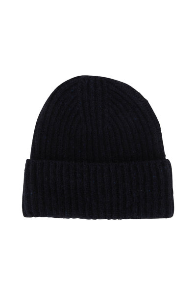 Vince - Navy Cashmere Ribbed Beanie