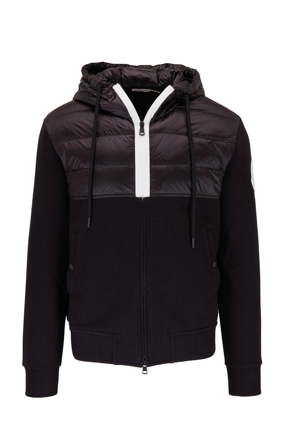 Moncler Black Hooded Front Zip Knit Jacket