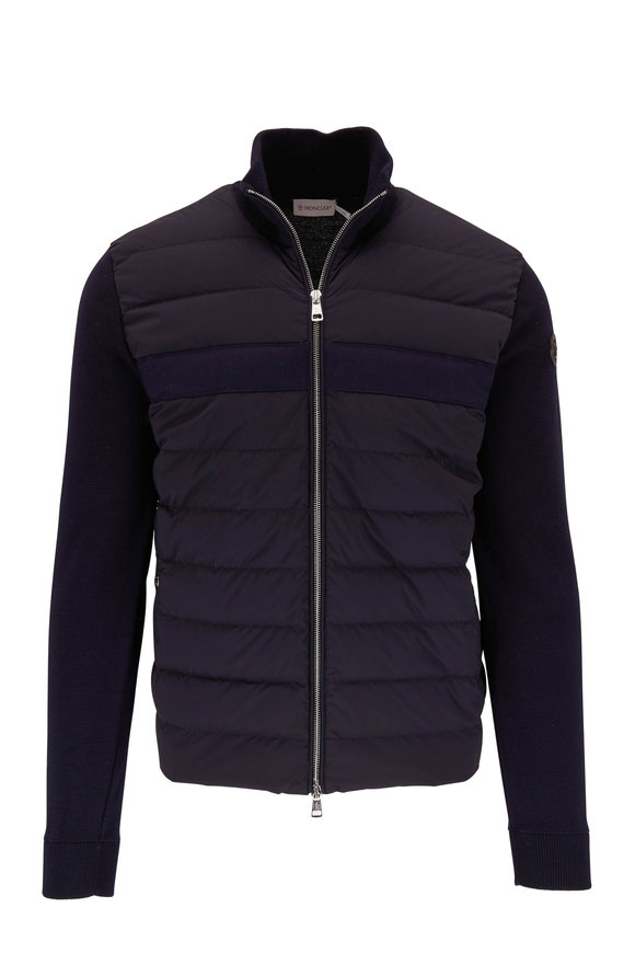 Moncler Navy Mixed Media Quilted Front Jacket