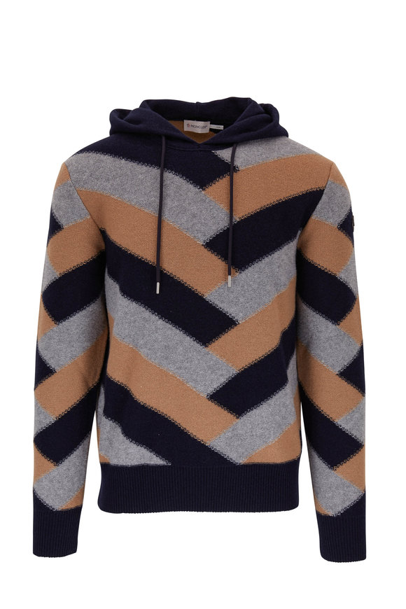 Moncler Navy & Taupe Colorblock Stripe Hoodie