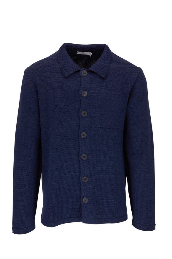 Inis Meain Knitting Co. Navy Wool, Alpaca & Silk Front Button Cardigan