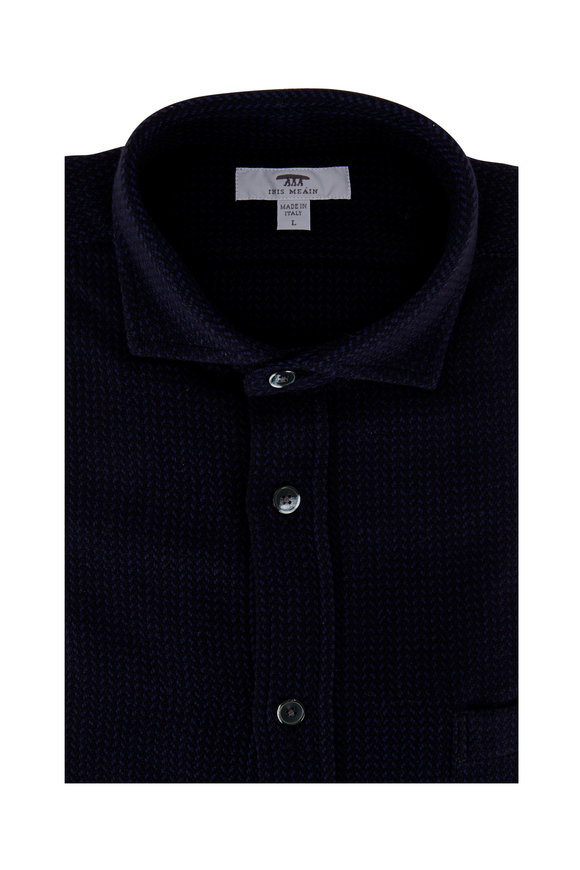 Inis Meain Knitting Co. Navy Blue Textured Knit Overshirt