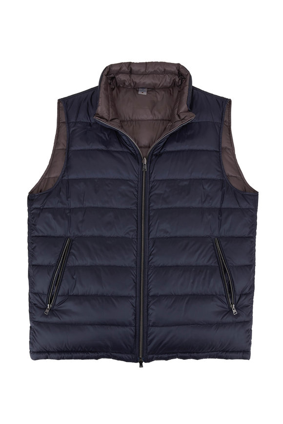 Herno Navy & Gray Reversible Quilted Puffer Vest