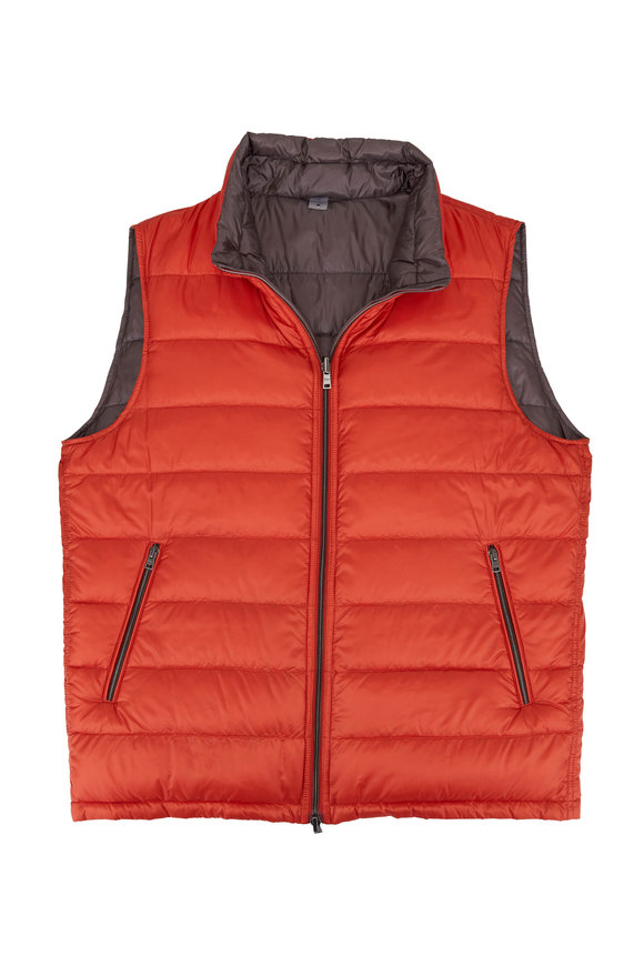 Herno Orange & Gray Reversible Quilted Puffer Vest