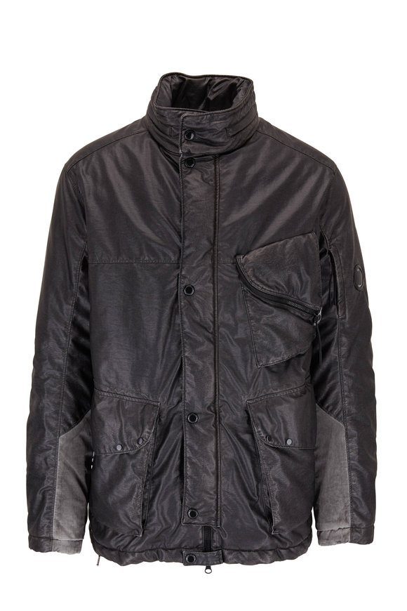 CP Company Grey Waxed Stand Collar Tech Jacket