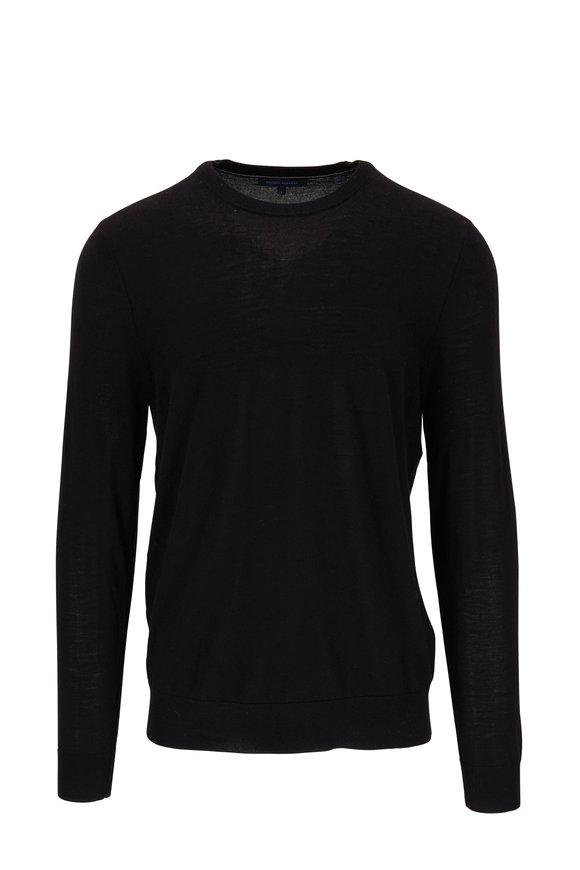 PYA Patrick Assaraf Black Merino Wool Crewneck Sweater