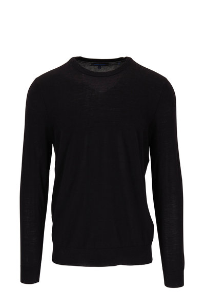 PYA Patrick Assaraf - Black Merino Wool Crewneck Sweater