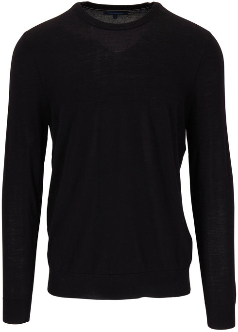 PYA Patrick Assaraf Black Merino Wool Crewneck Sweater