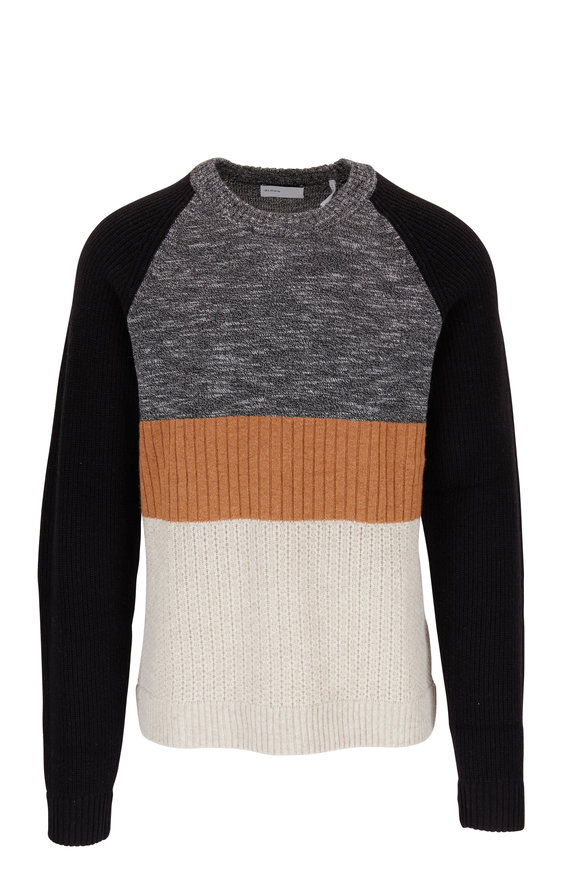 BLDWN Rene Black Colorblock Mixed Knit Pullover