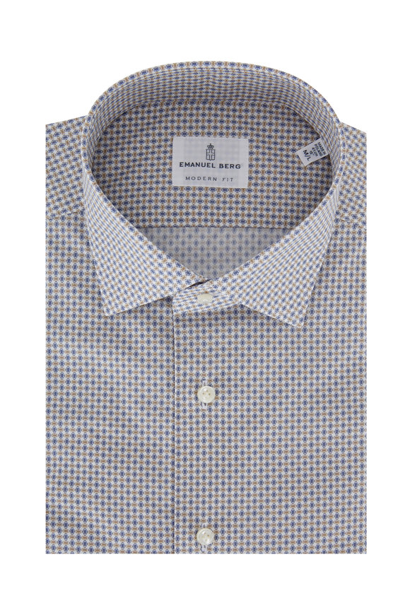 Emanuel Berg Tan & Blue Geometric Modern Fit Sport Shirt