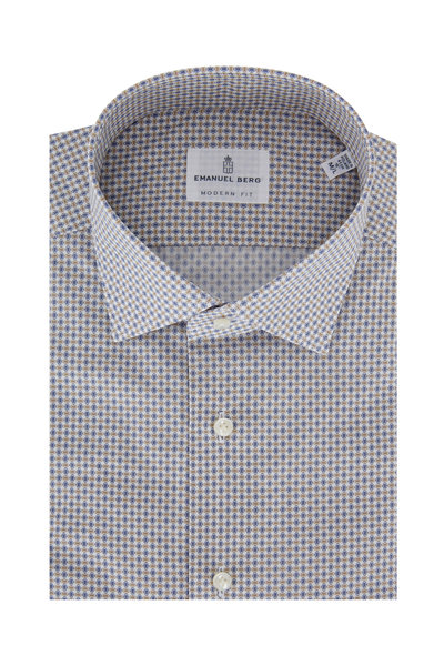 Emanuel Berg - Tan & Blue Geometric Modern Fit Sport Shirt
