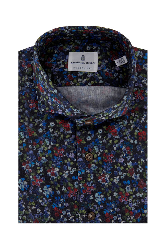 Navy Multicolor Floral Sport Shirt