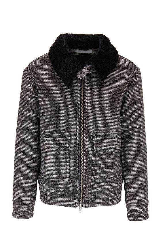 BLDWN Acoma Black & White Check Fur Collar Jacket