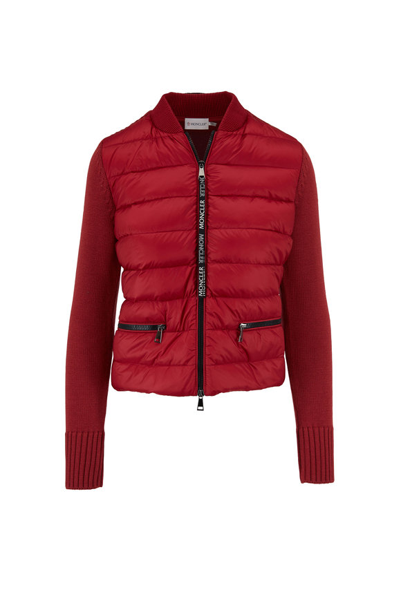 Moncler Maglione Red Quilted Front & Knit Down Jacket