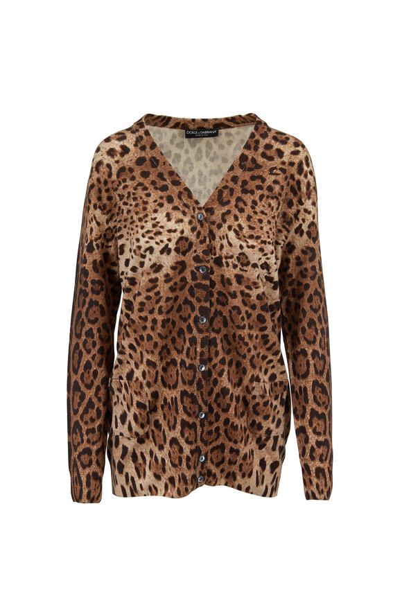 Dolce & Gabbana Leopard Print Cashmere V-Neck Cardigan