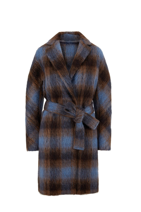Vince Azurite Plaid Belted Coat