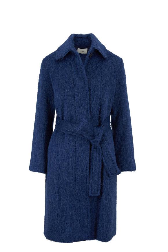 Vince Dark Azurite Belted Slim Fit Coat