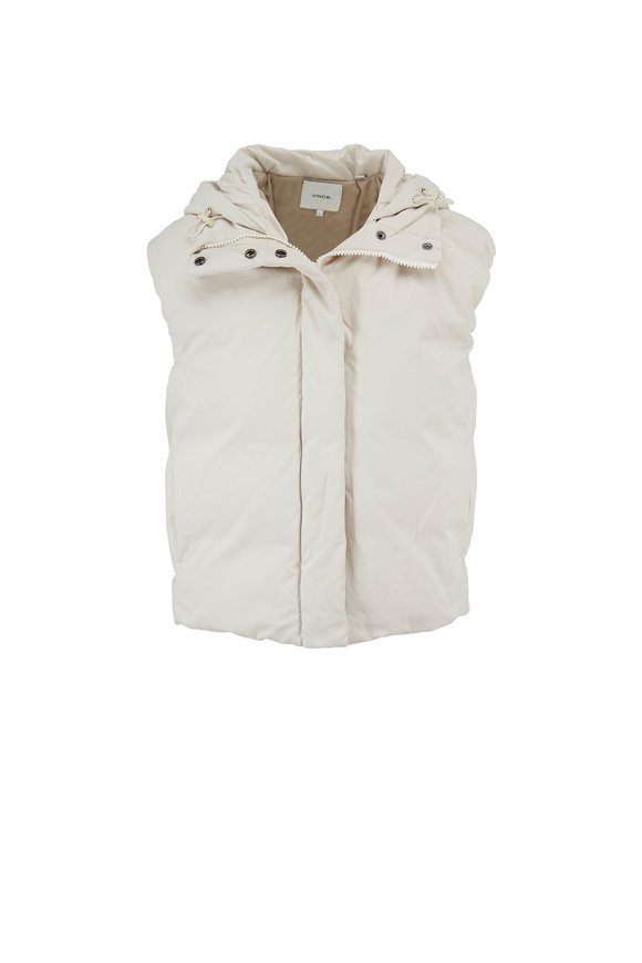 Vince Light Fawn Hooded Puffer Vest