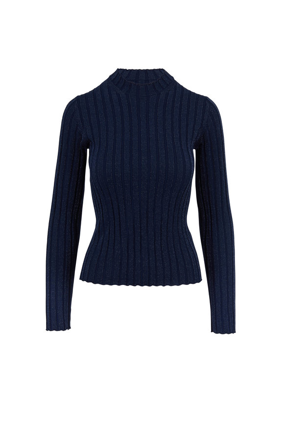 Vince Hydra Metallic Ribbed Mock Neck Ribbed Top